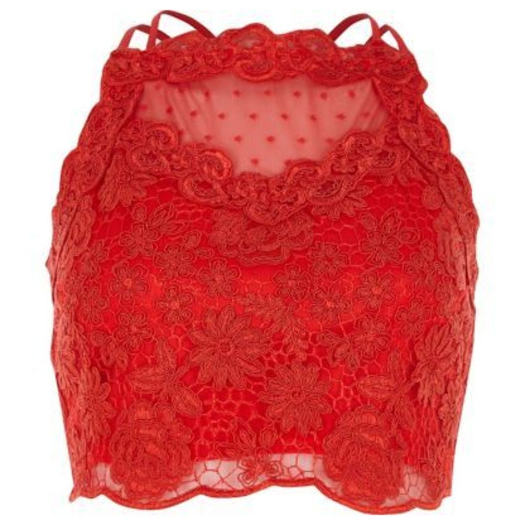 River Island Womens Red lace mesh crop top