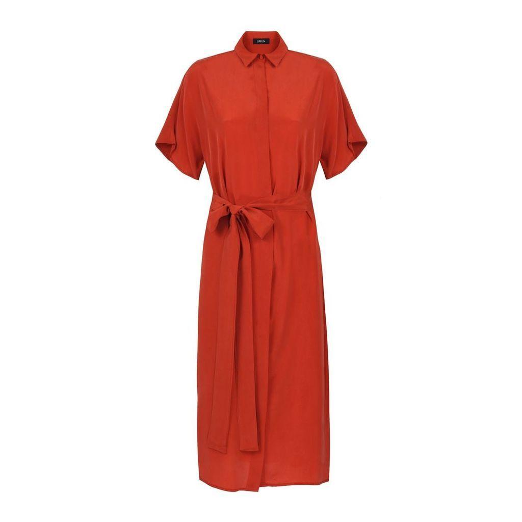 URUN - Urun Essentials Silk Dress In Orange
