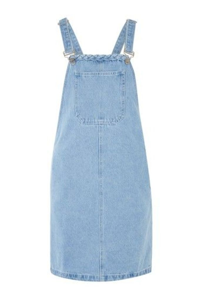 Womens **Denim Pinafore Dress by Glamorous Tall - Blue, Blue