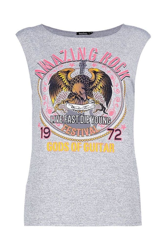 'Amazing Rock' Knitted Sleeveless Band Top - grey