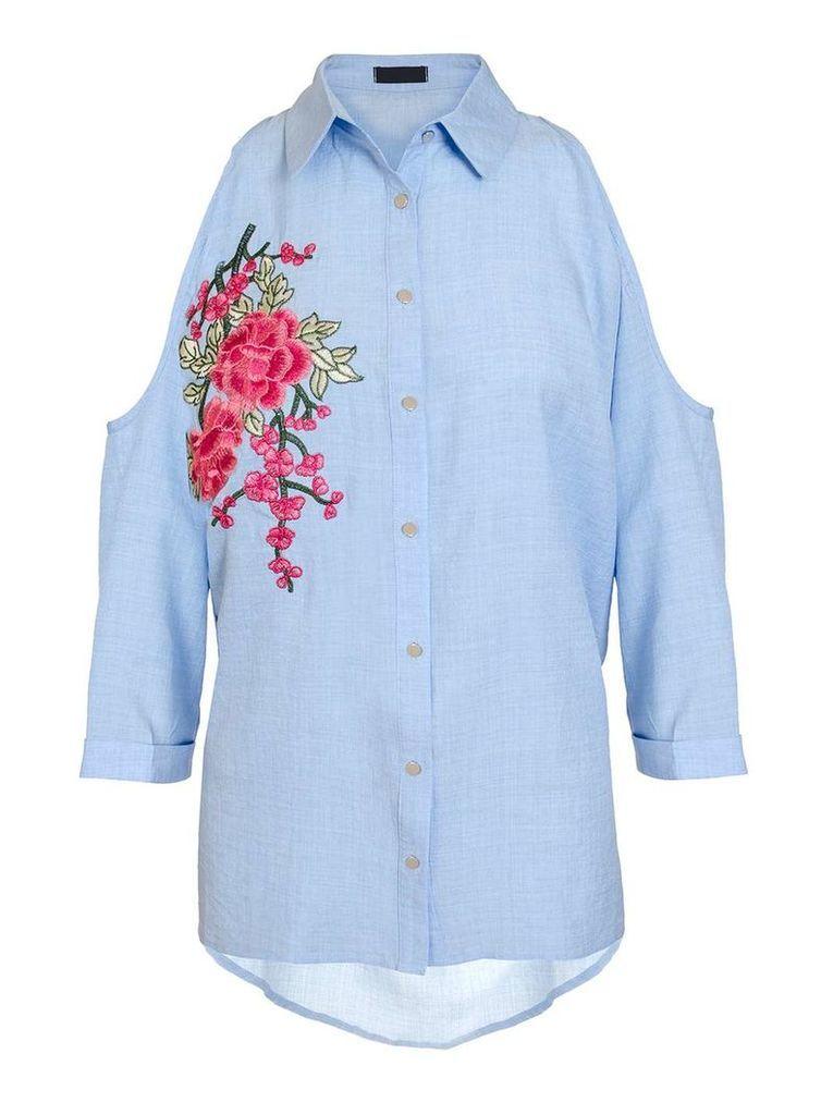 Womens *Quiz Light Blue Cold Shoulder Shirt- Blue