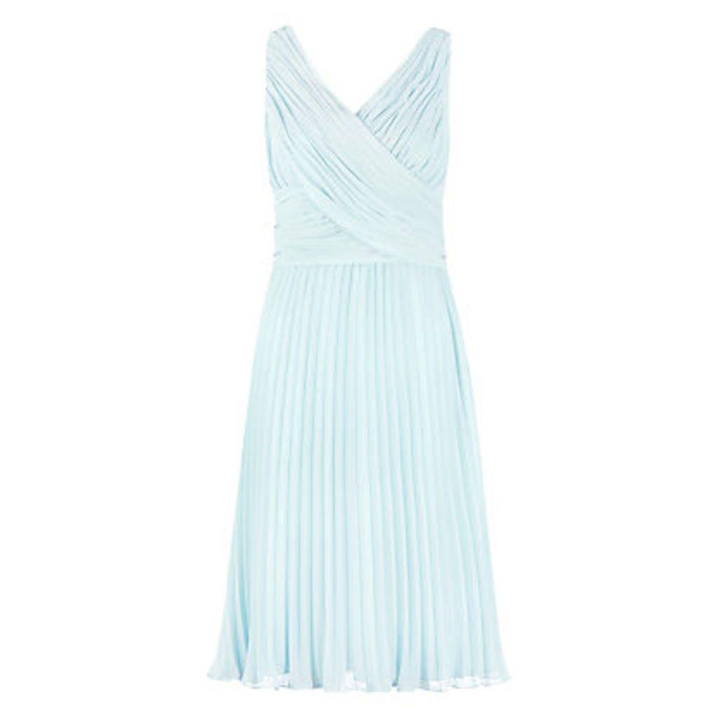 Jacques Vert Pleat Midi Dress, Aqua