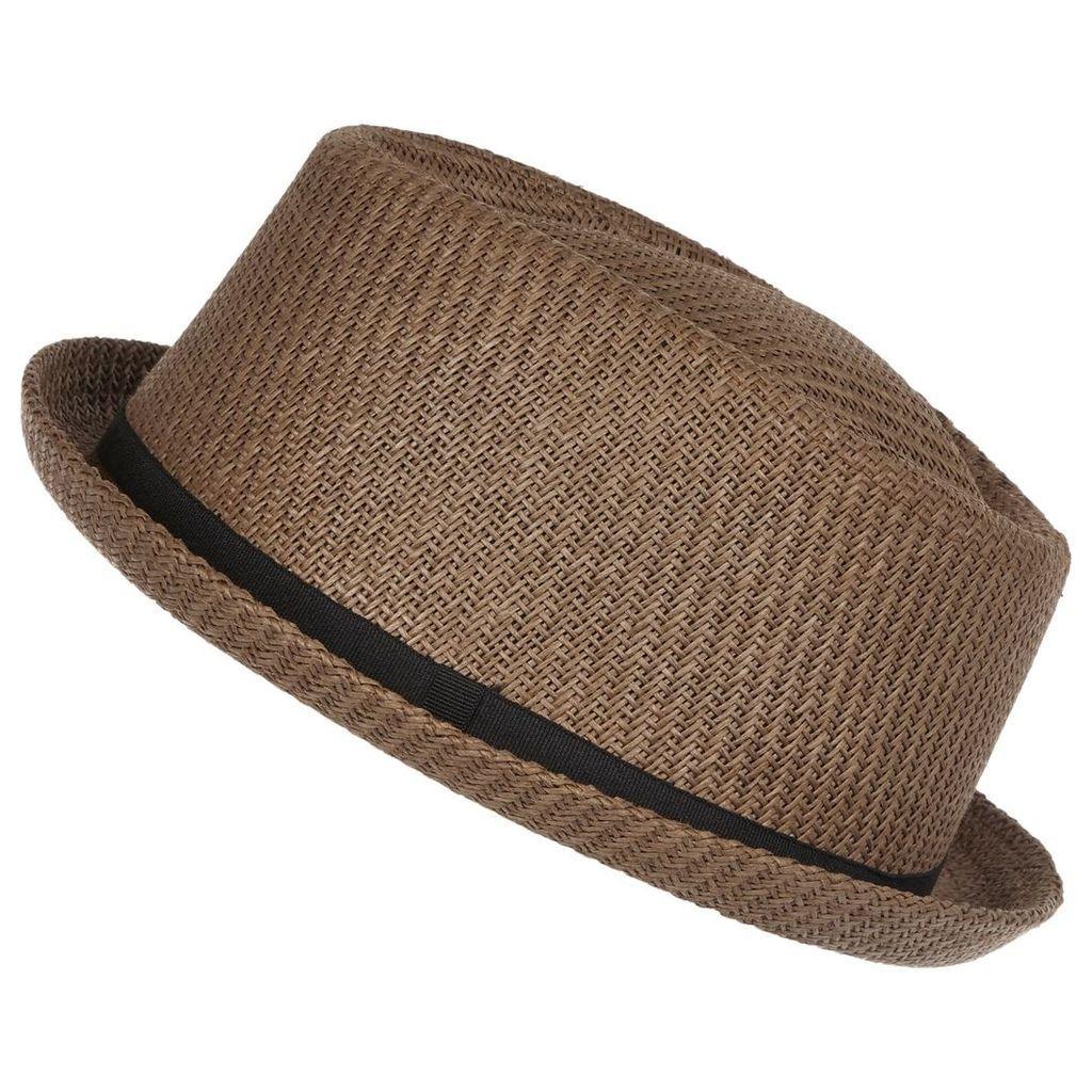 River Island Mens Brown straw pork pie hat