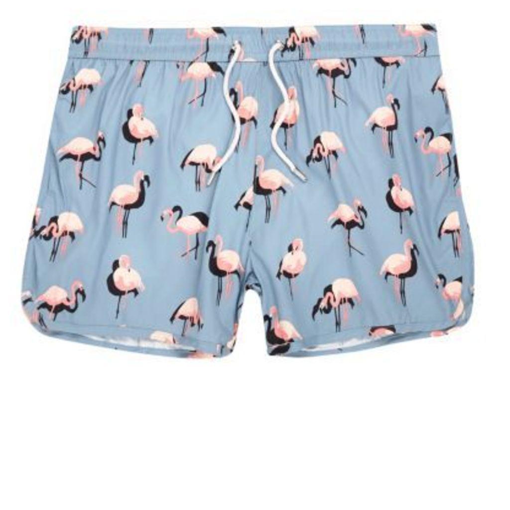 River Island Mens Blue flamingo print runner swim shorts