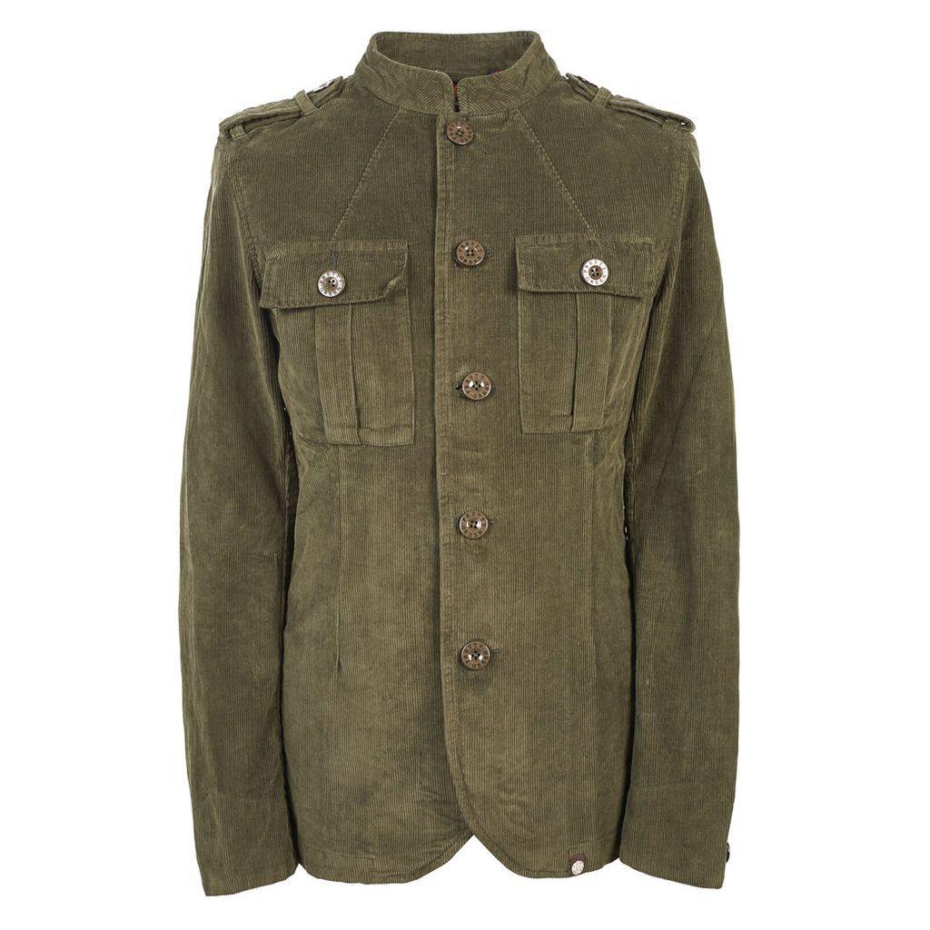 Pretty Green Men's Mandarin Collar Corduroy Military Jacket - Khaki - XXL