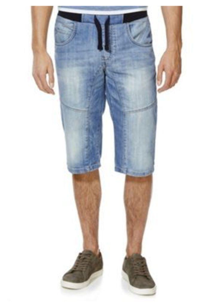 F&F Ribbed Waist Denim Shorts, Men's, Size: 36 Waist
