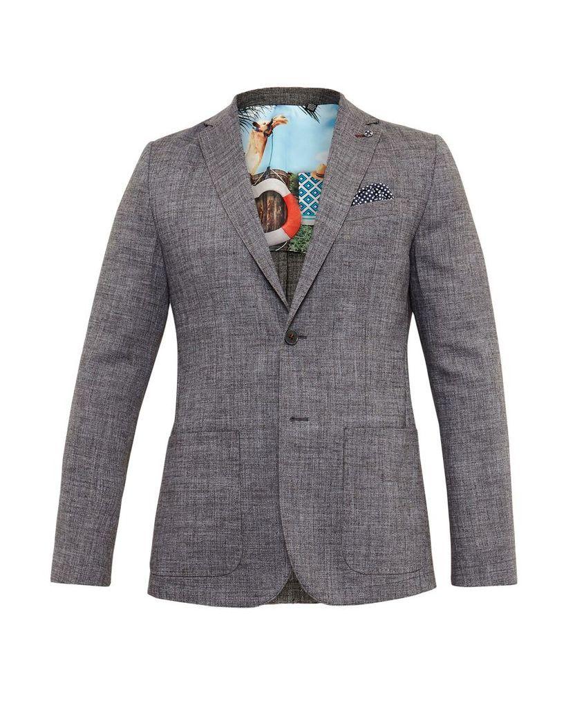 Men's Ted Baker Grid Cross Hatch Linen Blazer, Charcoal