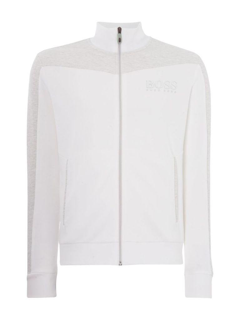 Men's Hugo Boss Skaz zip-up funnel neck sweatshirt, White