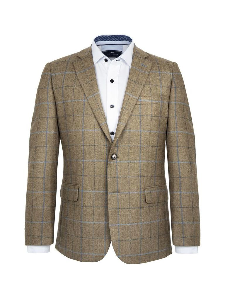 Men's Paul Costelloe Kenmare Checked Wool Jacket, Green