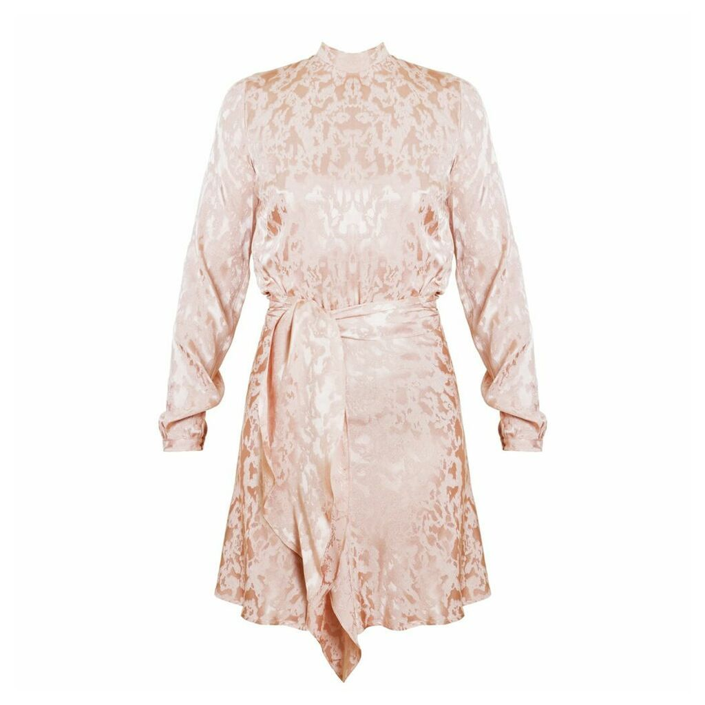UNDRESS - Amrita Pastel Pink Textured Fabric Open Back Mini Dress