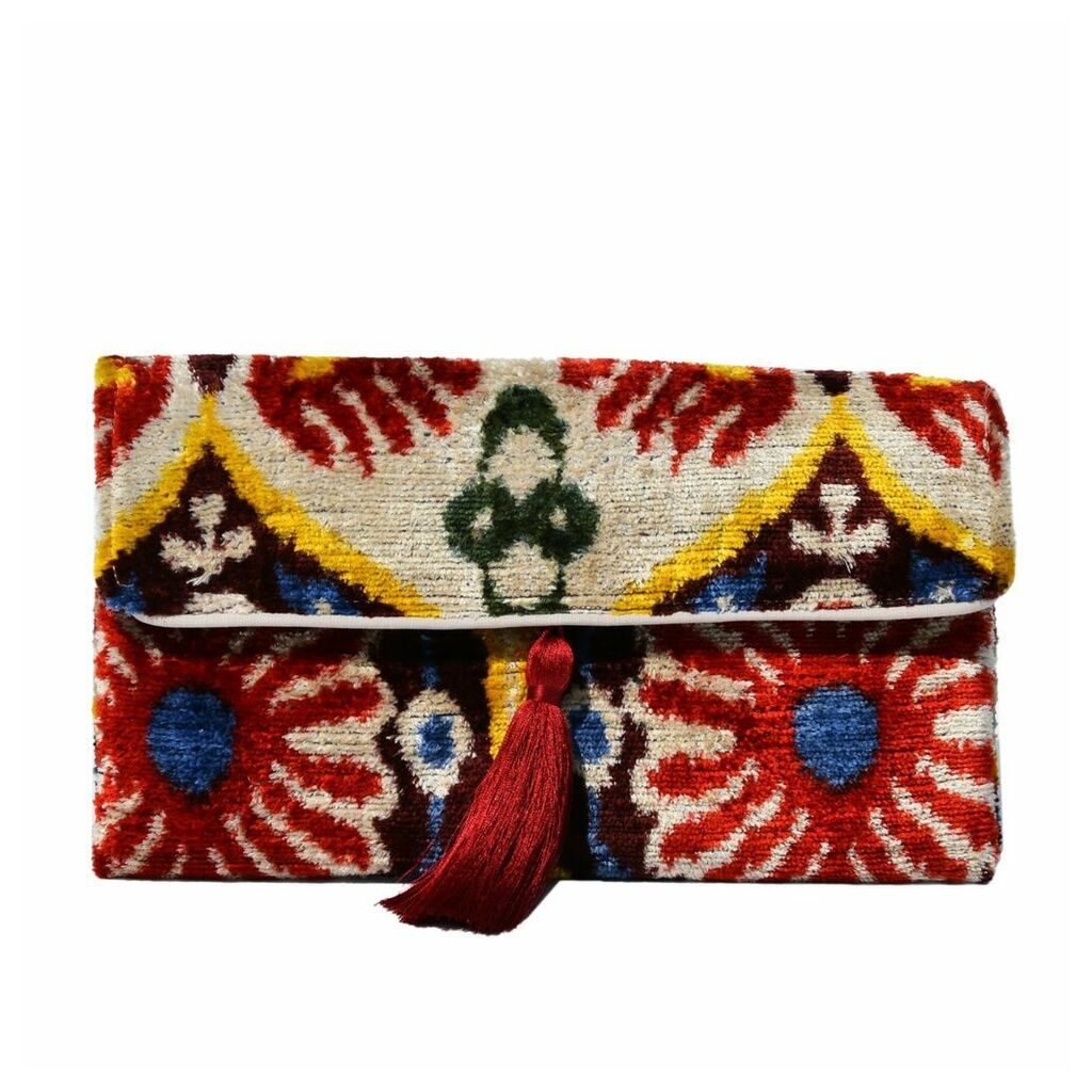 PUNICA - Classic Multicoloured Velvet Ikat Clutch