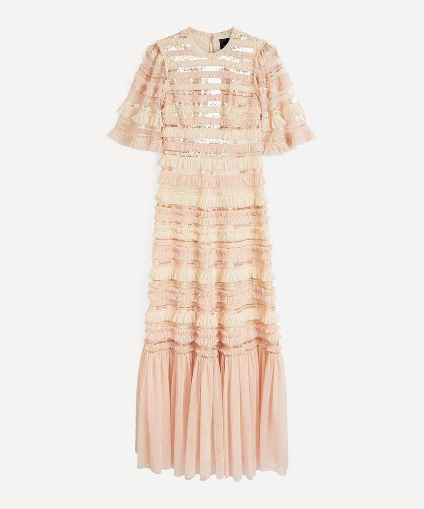 Nancy Stripe Frill Gown