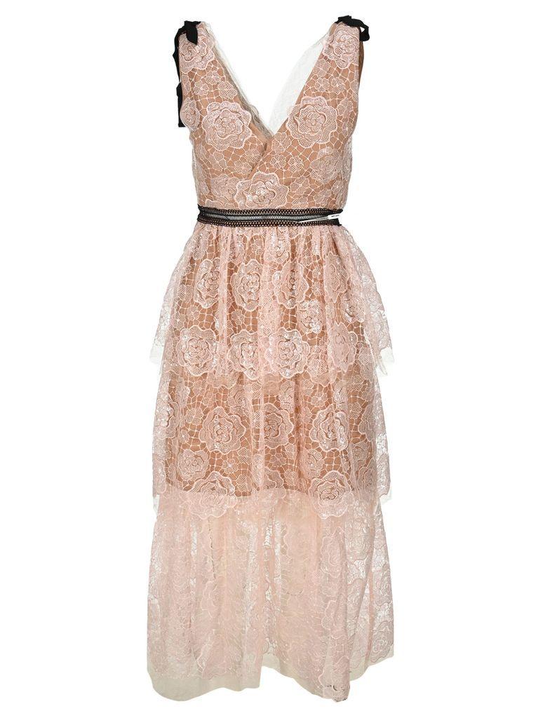 Self Portrait Starlet Rose Lace Midi Dress