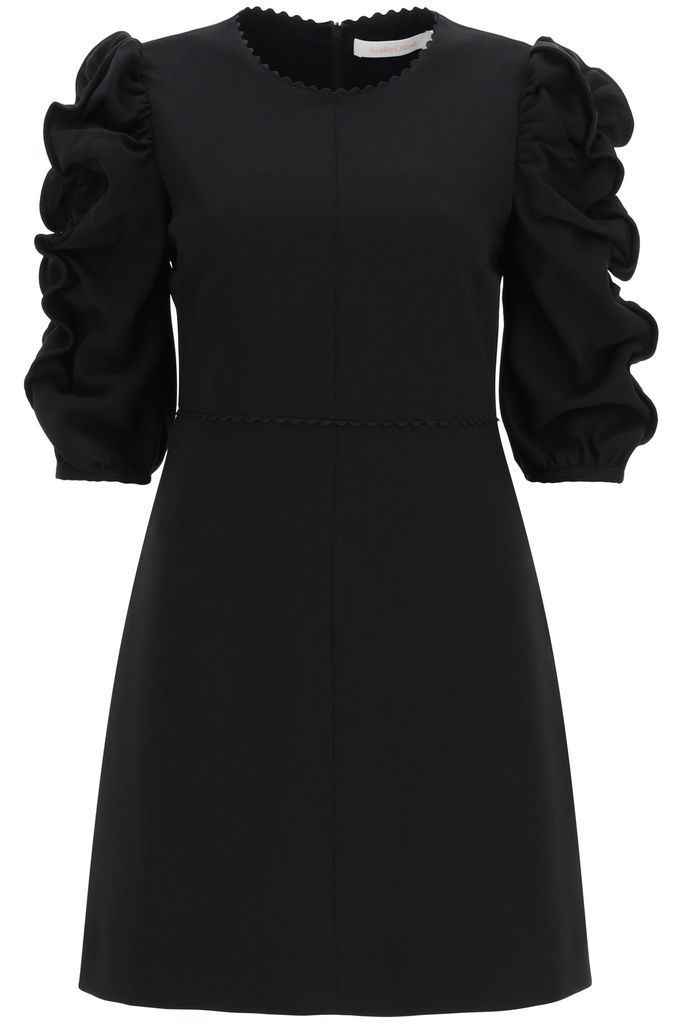 Short Dress With Gathered Sleeves