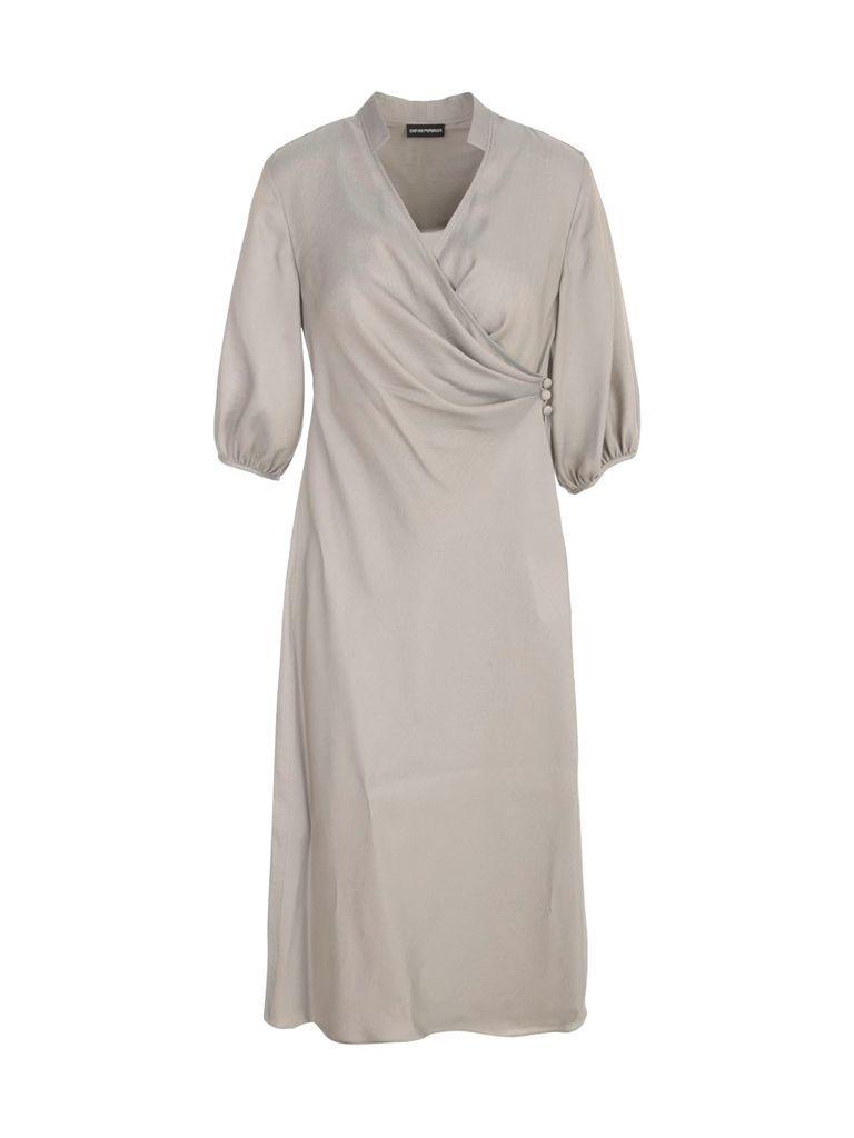 Long S/s Dress W/balloon Sleeves
