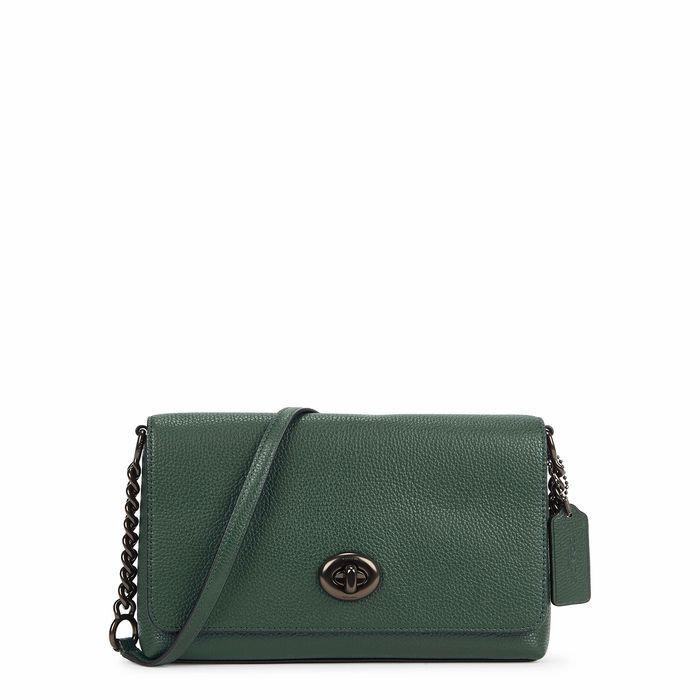 Crosstown Dark Green Leather Cross-body Bag
