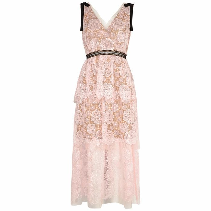 Starlet Rose Sequin-embellished Lace Midi Dress
