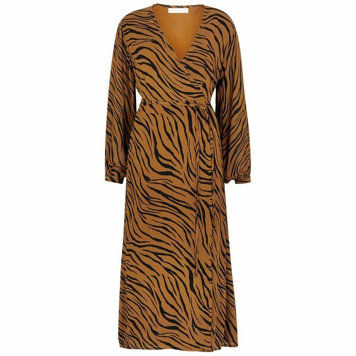 Florian Brown Tiger-print Wrap Dress
