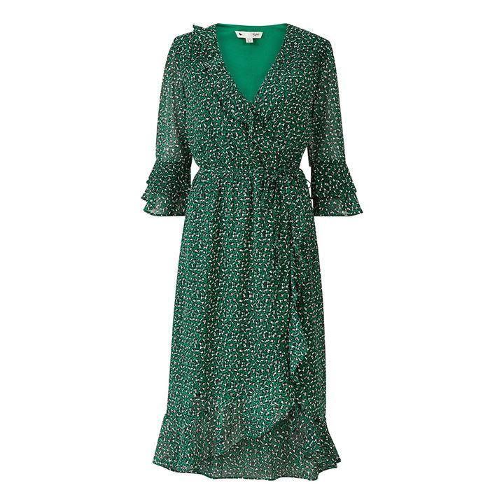 Yumi Green Leopard Tie Wrap Dress - Green
