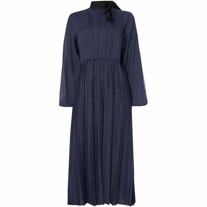 Odeon single sleeve dress with pleating