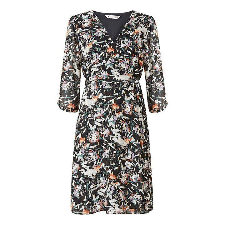 Yumi Black Floral Wrap Dress - Black