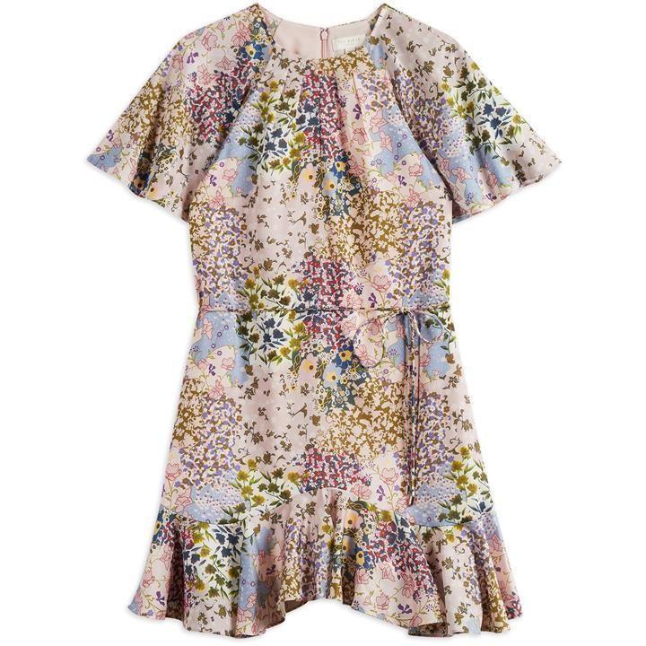 Ted Baker Lalu Urban Printed Fluted Hem Mini Dress - LT-PINK
