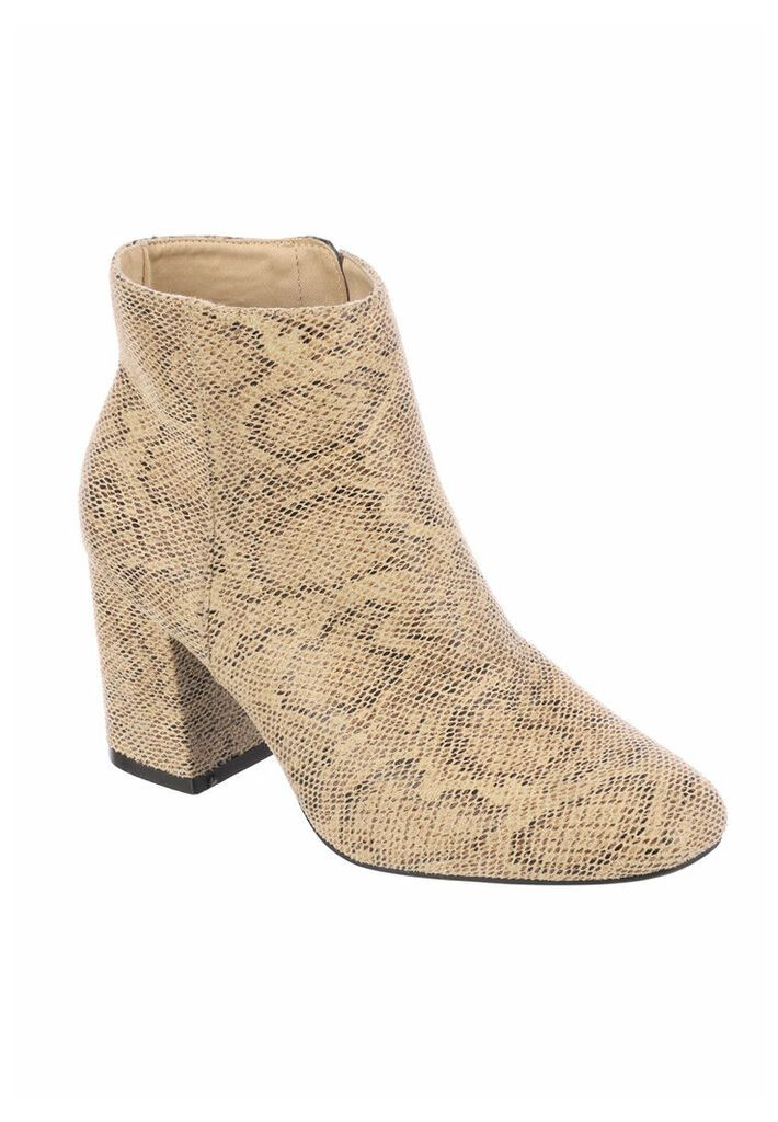 Womens ENVY Nude Faux Snake Heeled Boots