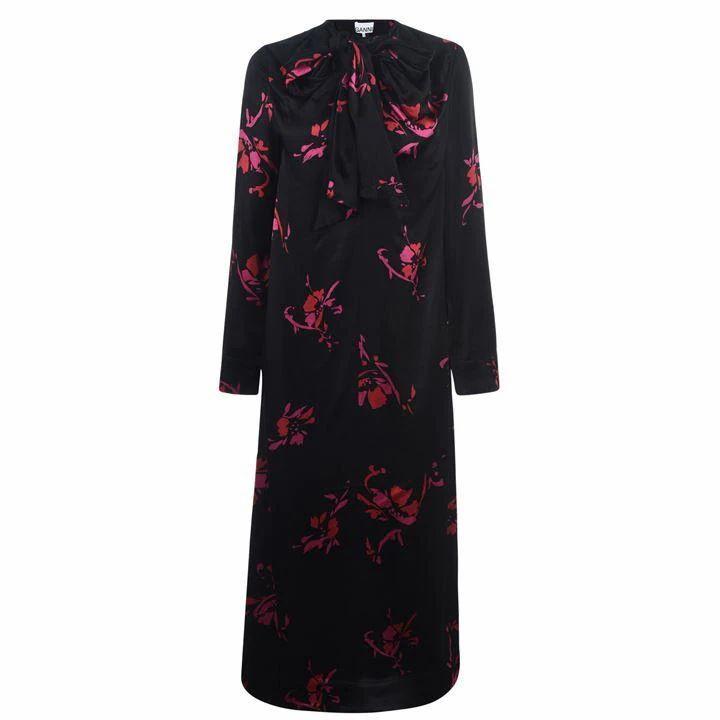 GANNI Floral Satin Maxi Dress - Black