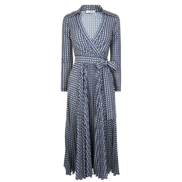VALENTINO Optical Wrap Dress - Almond/Blue