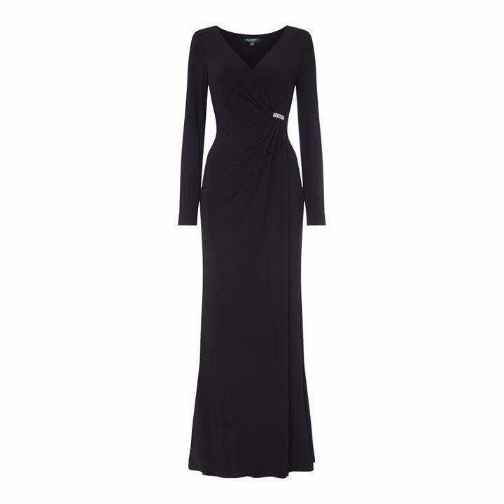 Lauren Ralph Lauren Occasion Jillie Long Sleeve Evening Dress - Black