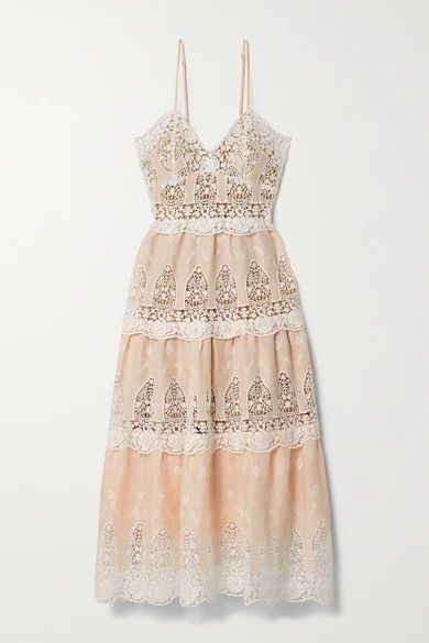 Lotte Crochet-trimmed Linen Midi Dress - Peach
