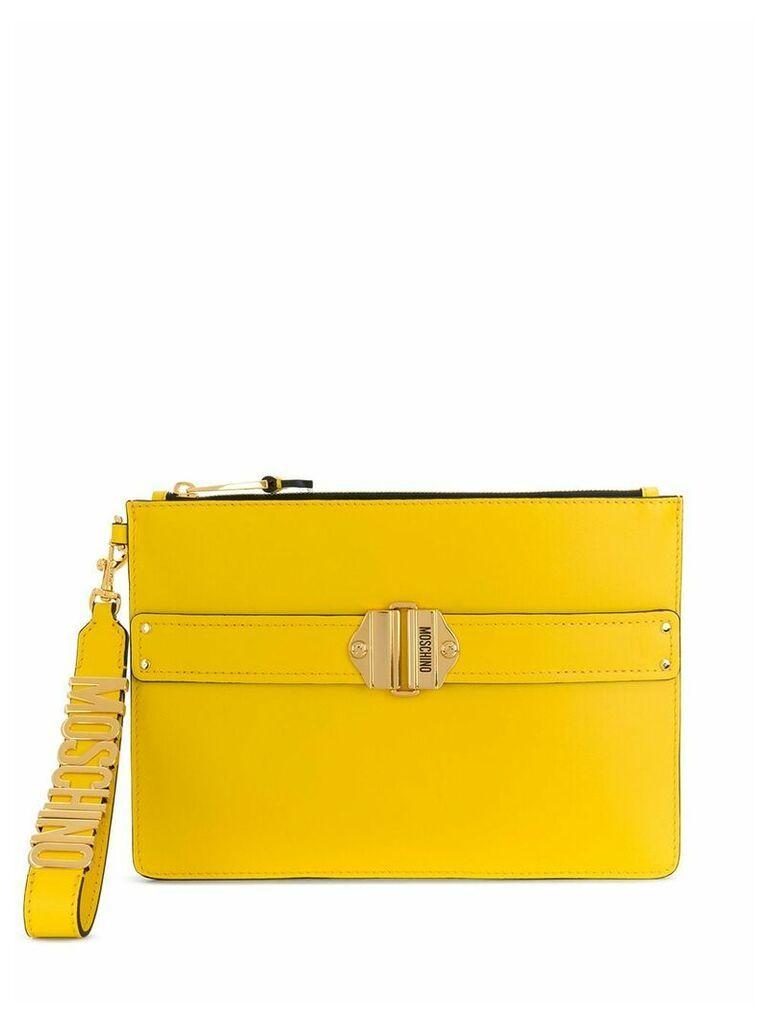 Moschino logo clutch bag - Yellow