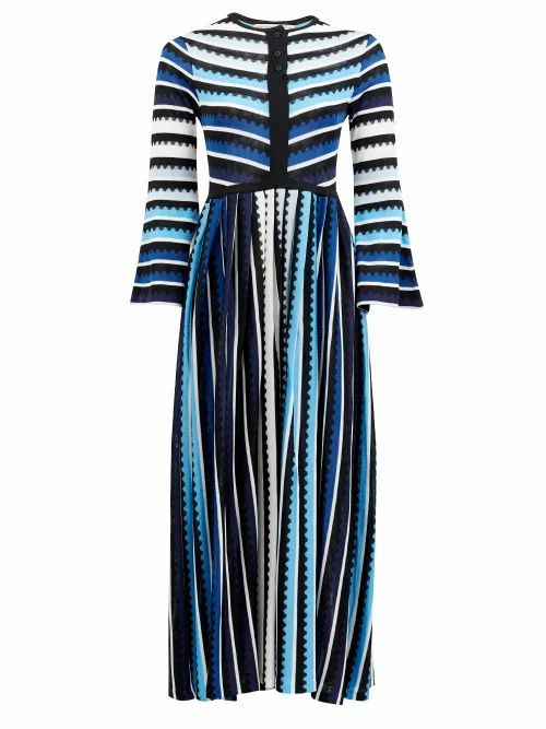 Mary Mare - Maya Striped Midi Dress - Womens - Blue Stripe