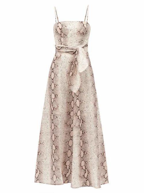 Zimmermann - Bellitude Python-print Linen Dress - Womens - Beige Print