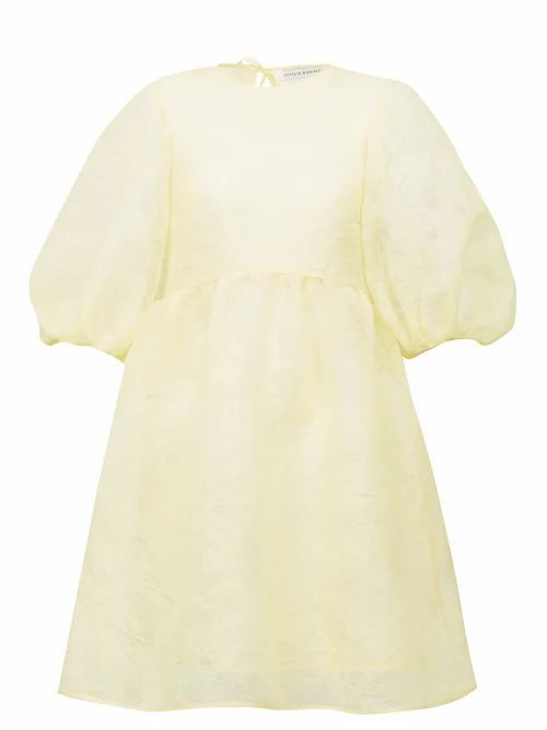 Cecilie Bahnsen - Mabel Puff-sleeve Laddered-organza Dress - Womens - Yellow
