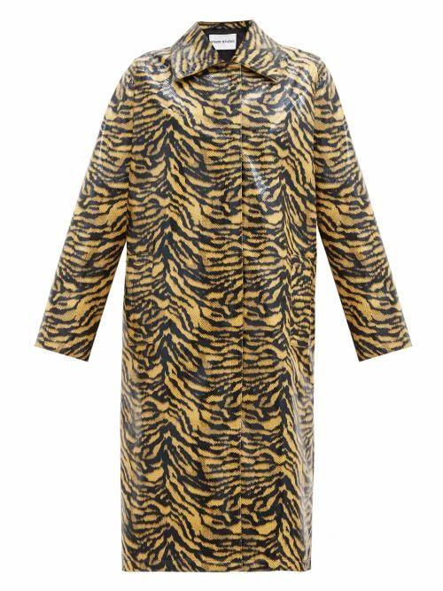 Stand Studio - Elyssa Zebra-print Patent Faux-leather Coat - Womens - Black Yellow