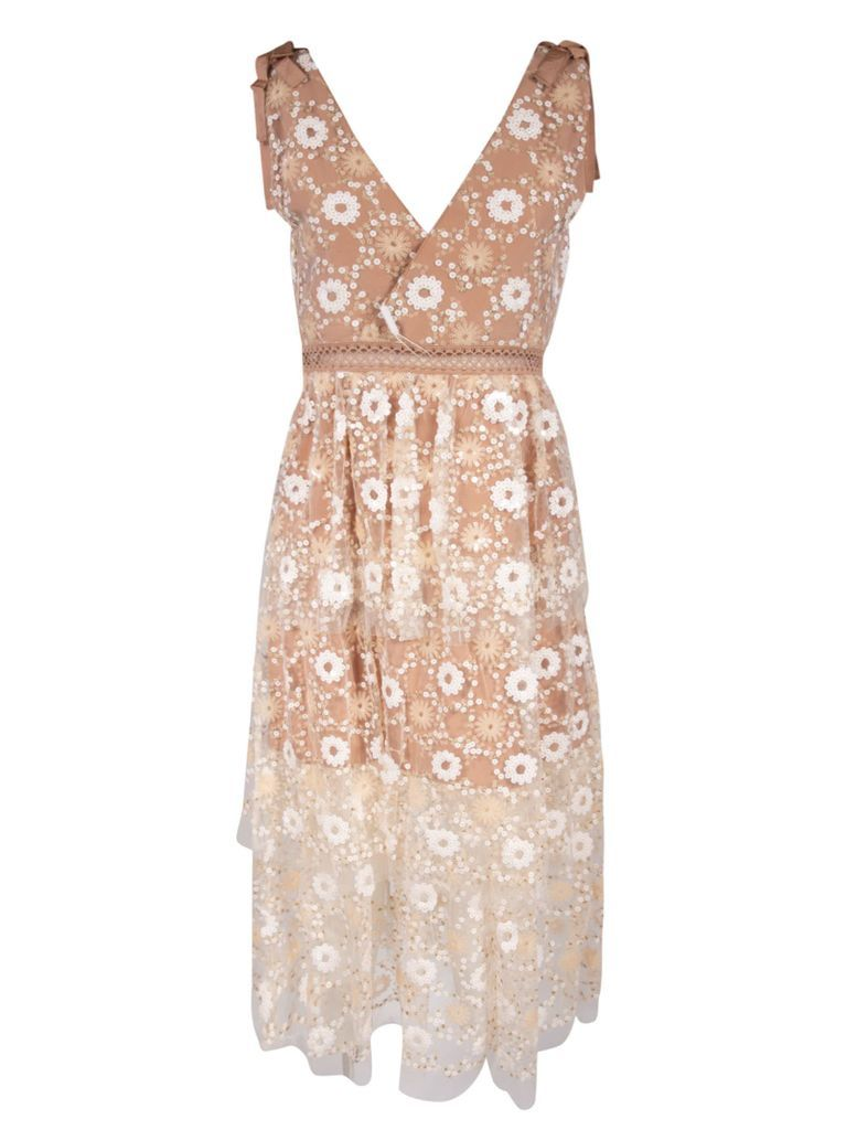 Flower Sequin Tiered Midi Dress