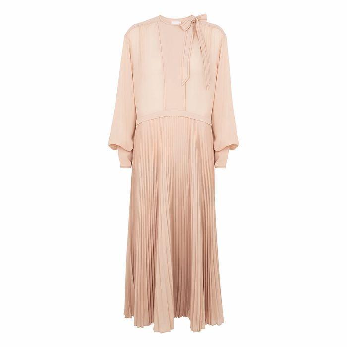 Nicolette Blush Pleated Midi Dress