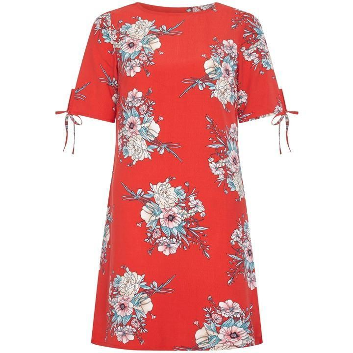 Blossom Print Ruche Sleeve Tunic Dress