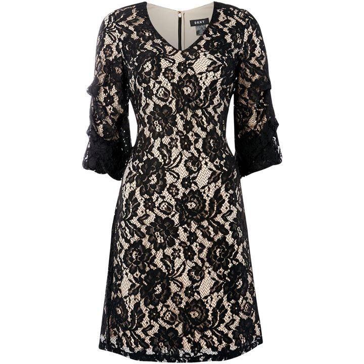 DKNY three quarter sleeve ruched lace shift dress - Black