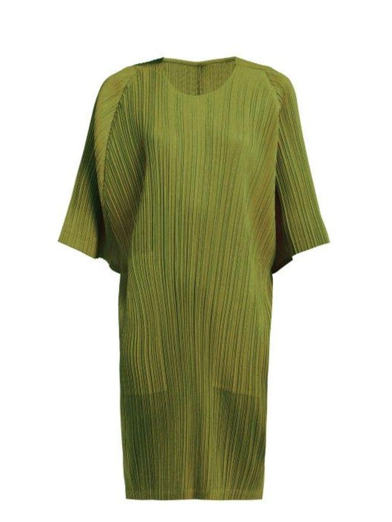 Pleats Please Issey Miyake - Tech Pleated Collarless Coat - Womens - Khaki