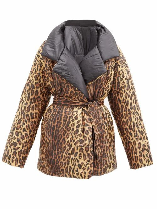 Norma Kamali - Sleeping Bag Reversible Leopard-print Padded Coat - Womens - Black Multi