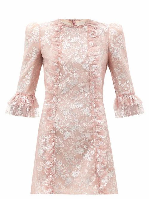 The Love Letter Ruffled Metallic Lace Dress - Womens - Light Pink
