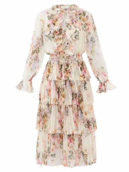 Zimmermann - Brighton Tiered Floral-print Silk-georgette Dress - Womens - White Print