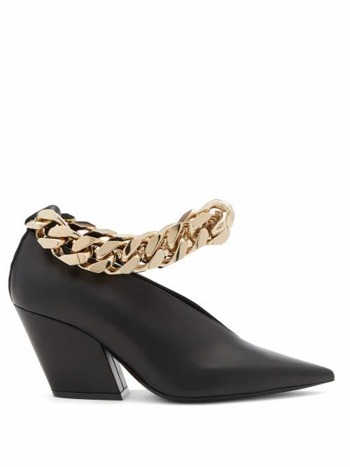 Burberry - Brierfield Chain-strap Pointed Leather Pumps - Womens - Black Gold
