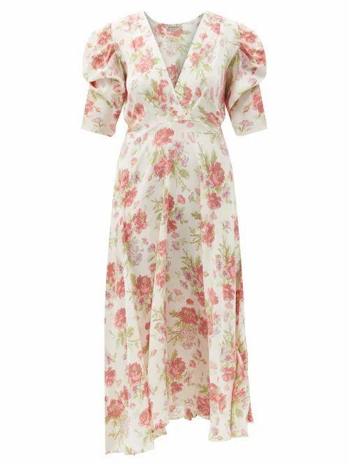 D'Ascoli - Kati V-neck Floral-print Silk-crepe Midi Dress - Womens - Red Multi