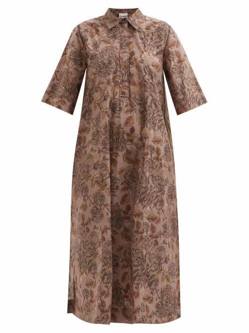 Ganni - Leaf-print Organic Cotton-poplin Midi Shirt Dress - Womens - Brown Print