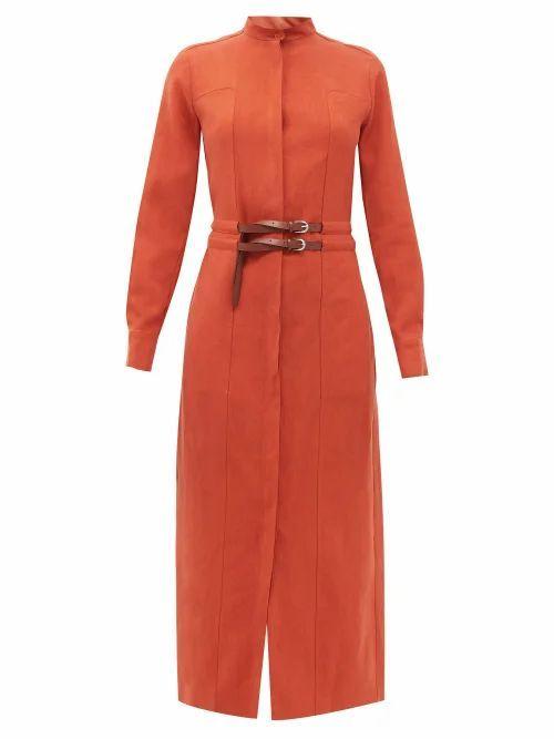 Rees High-neck Belted Linen Shirt Dress - Womens - Red