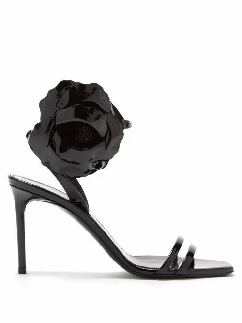 Amber Flower-corsage Patent-leather Sandals - Womens - Black