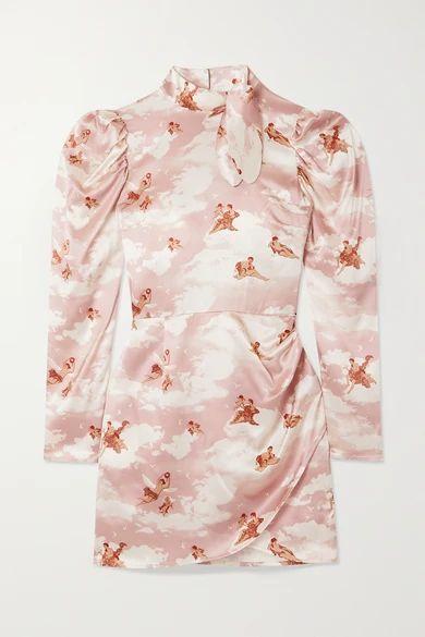 Livie Tie-detailed Printed Silk-satin Mini Dress - Pink